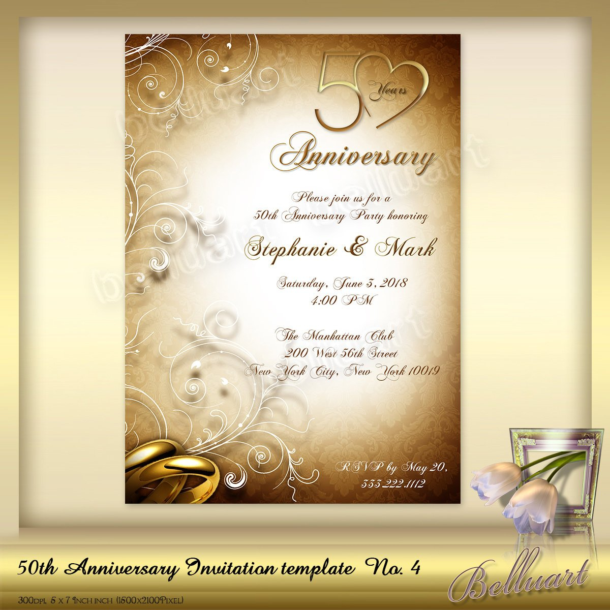50th Wedding Anniversary Invitations 50th Anniversary Invitation Template No4 Golden Wedding Etsy
