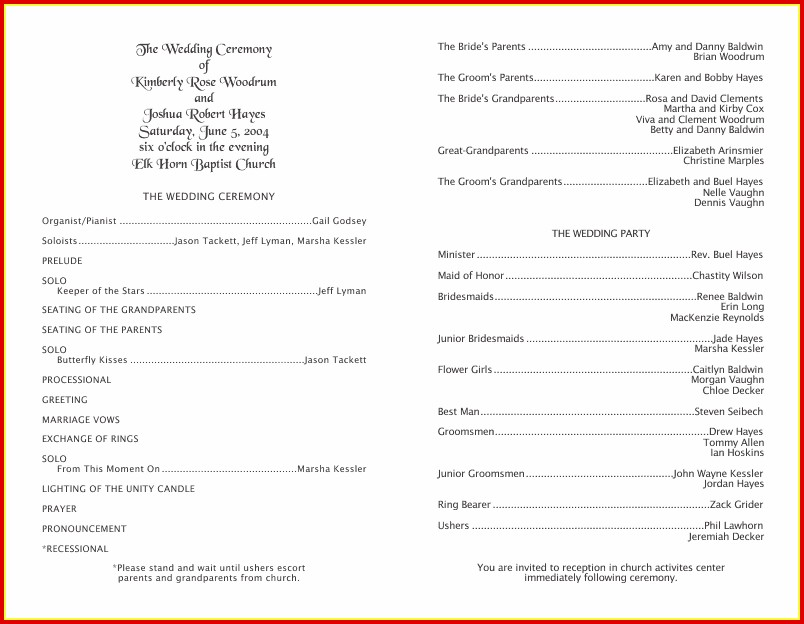 50th Wedding Anniversary Program Templates