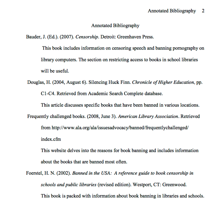 6th Edition Apa Annotated Bibliography Template