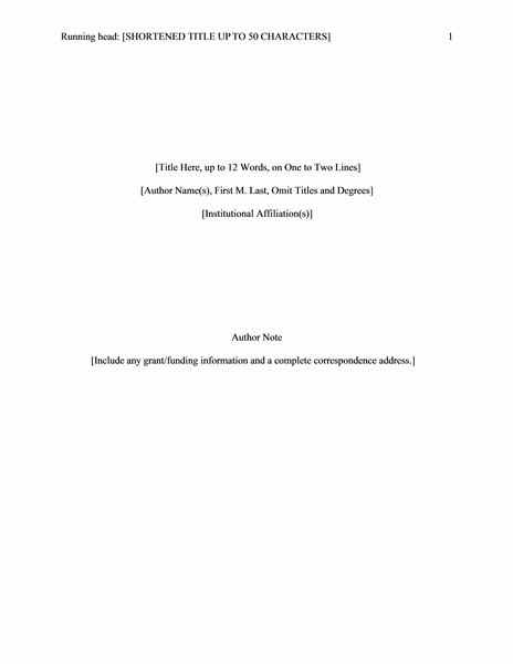 6th Edition Apa Title Page Template