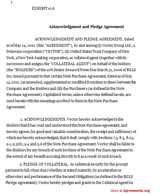 Acknowledgement Agreement Template