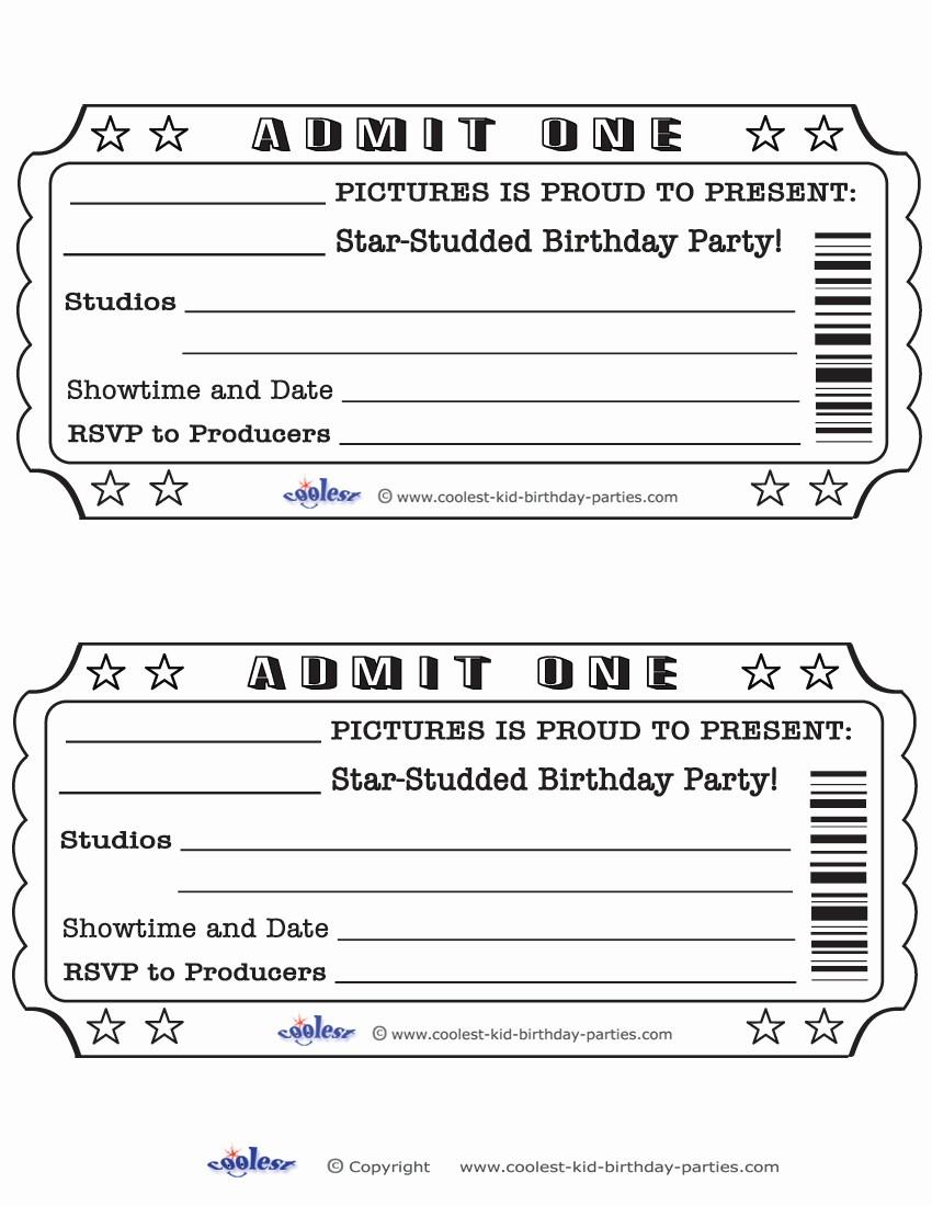 Admit One Ticket Invitation Template Free