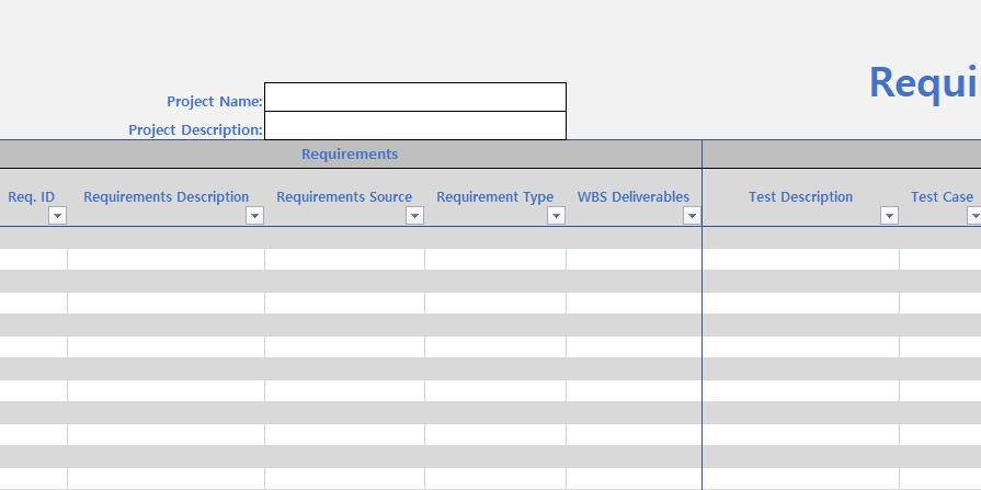 Agile Requirements Traceability Matrix Template