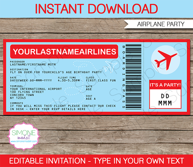 Airplane Party Invitation Template