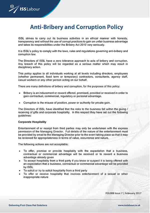 Anti Corruption And Bribery Policy Template