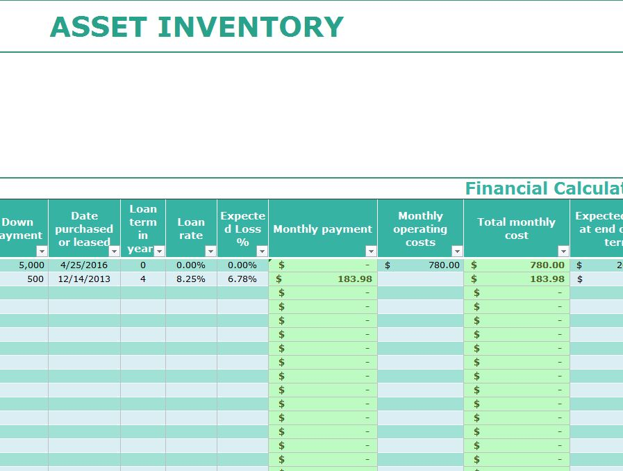 Asset Inventory Template Excel