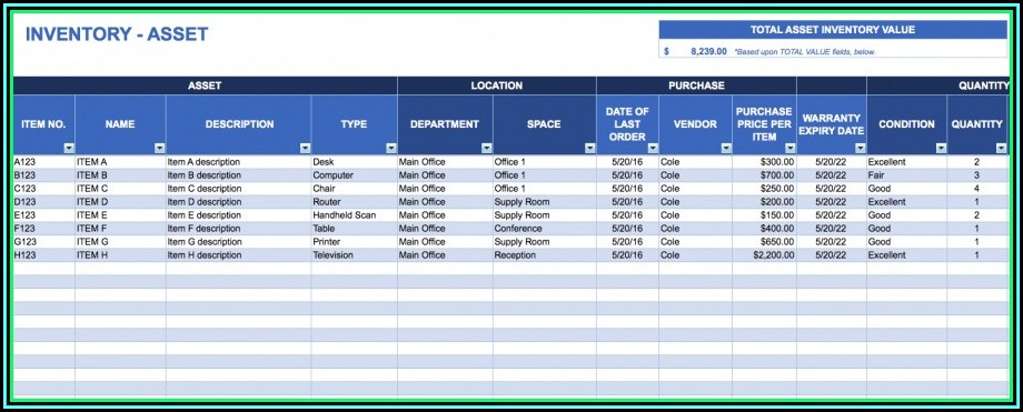 Asset Management Asset Inventory Template