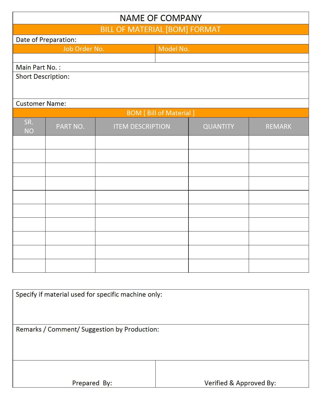 Bill Of Material Sample Template