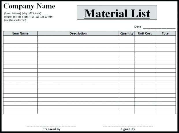Bill Of Material Template Xls