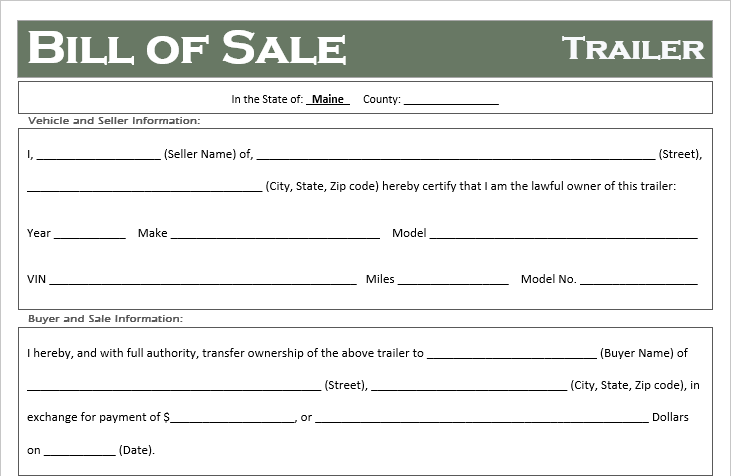 Bill Of Sale Template Maine