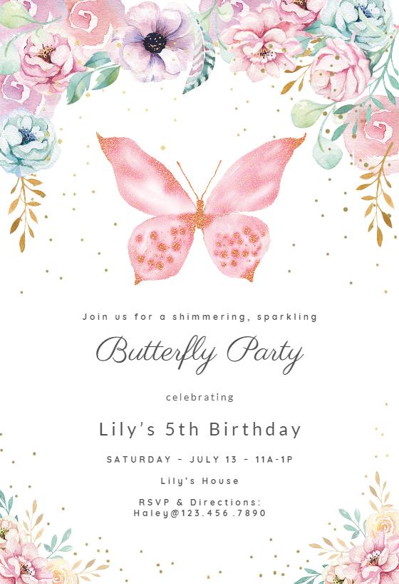 Birthday Butterfly Invitation Template