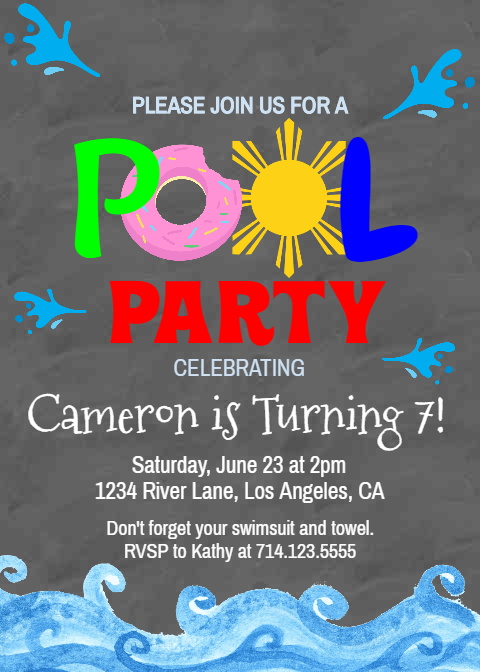 Birthday Pool Party Invite Template