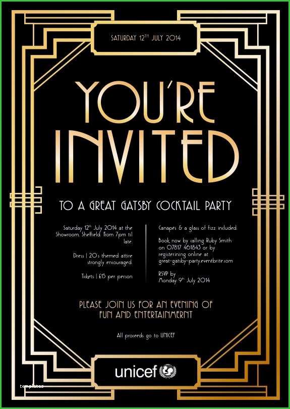 1920s Party Invitation Template Free Essential Ideas Blank Great Gatsby Invitation Template