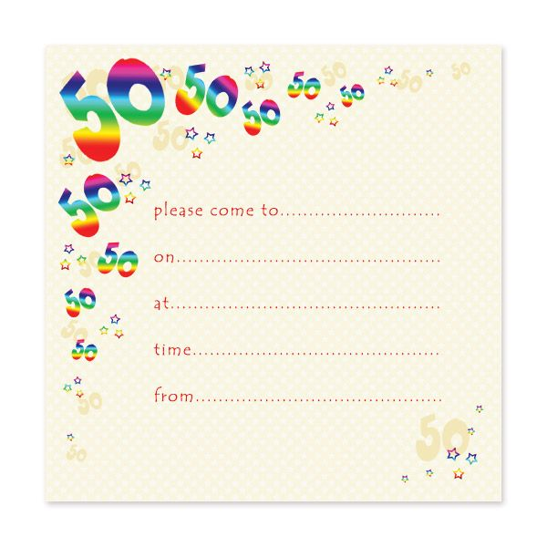 Blank 50th Birthday Invitations Templates