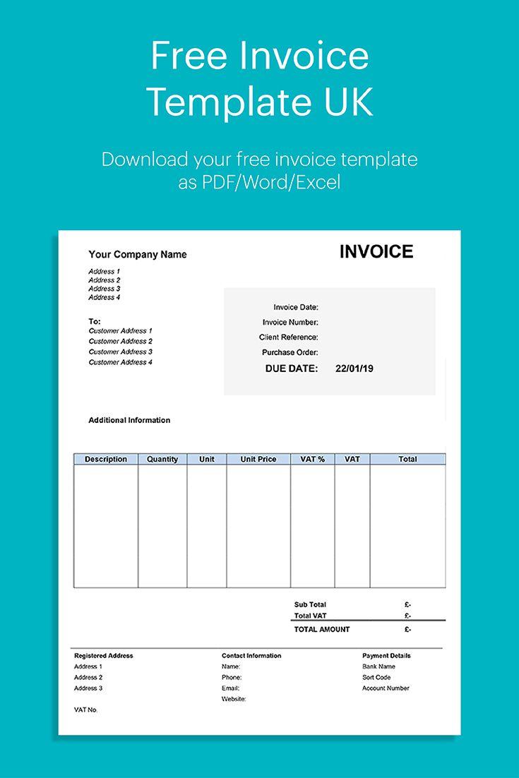 Blank Free Invoice Template Uk Pdf
