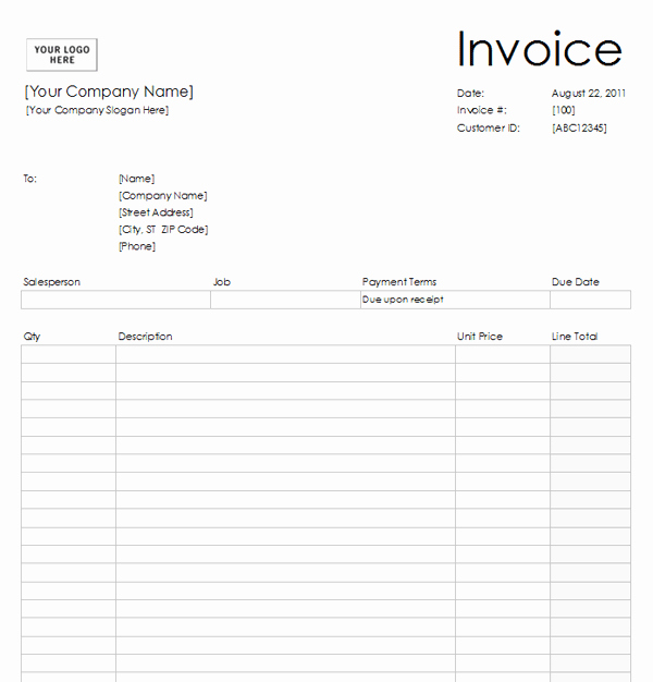 Free Printable Construction Invoice Template Then Blank Invoice Excel