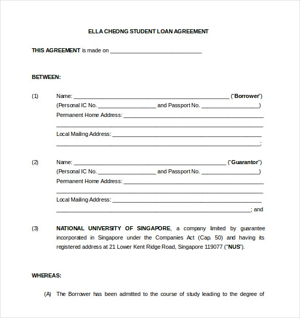 Blank Loan Agreement Template