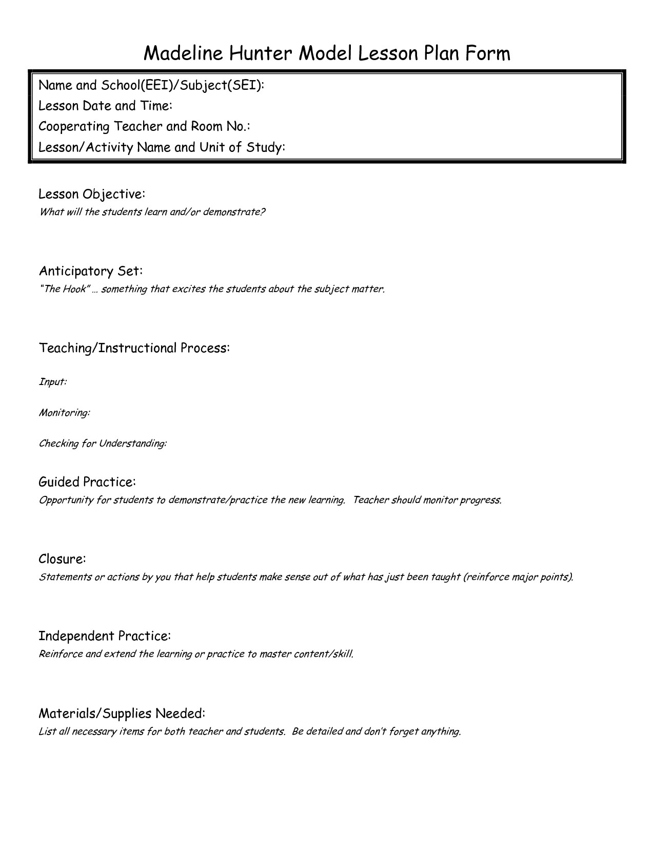 Blank Madeline Hunter Lesson Plan Template
