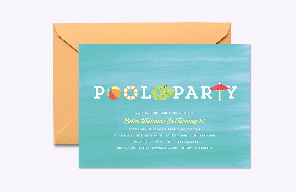 Blank Pool Party Invite Template