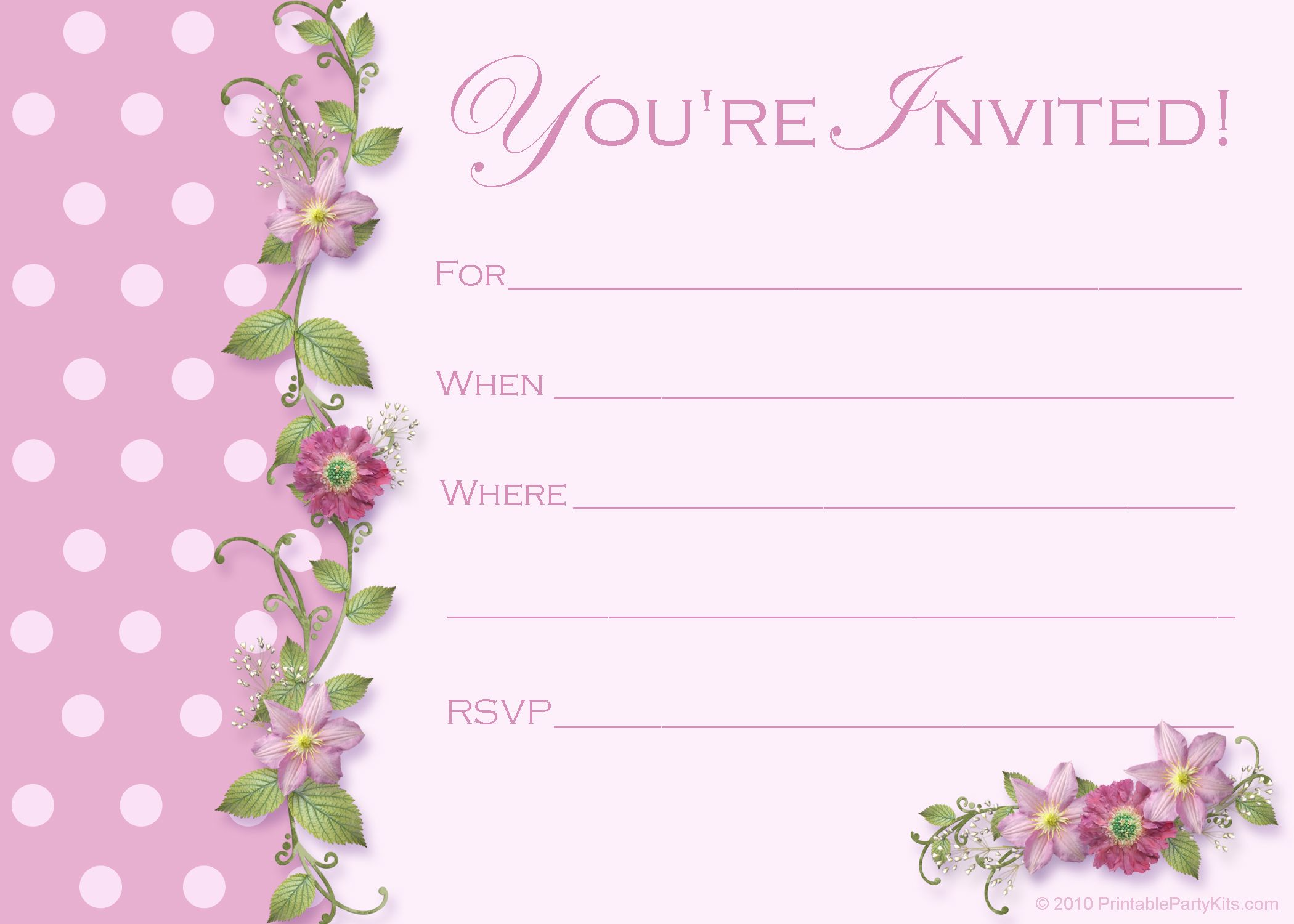 Blank Templates For Birthday Invitation