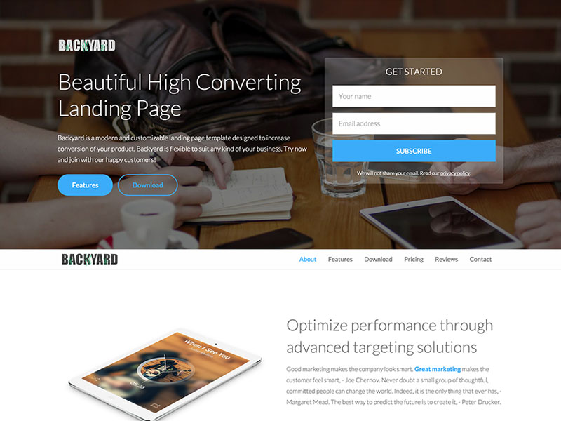 Bootstrap Landing Page Template Free