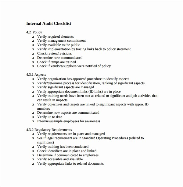 Brc Internal Audit Checklist Template