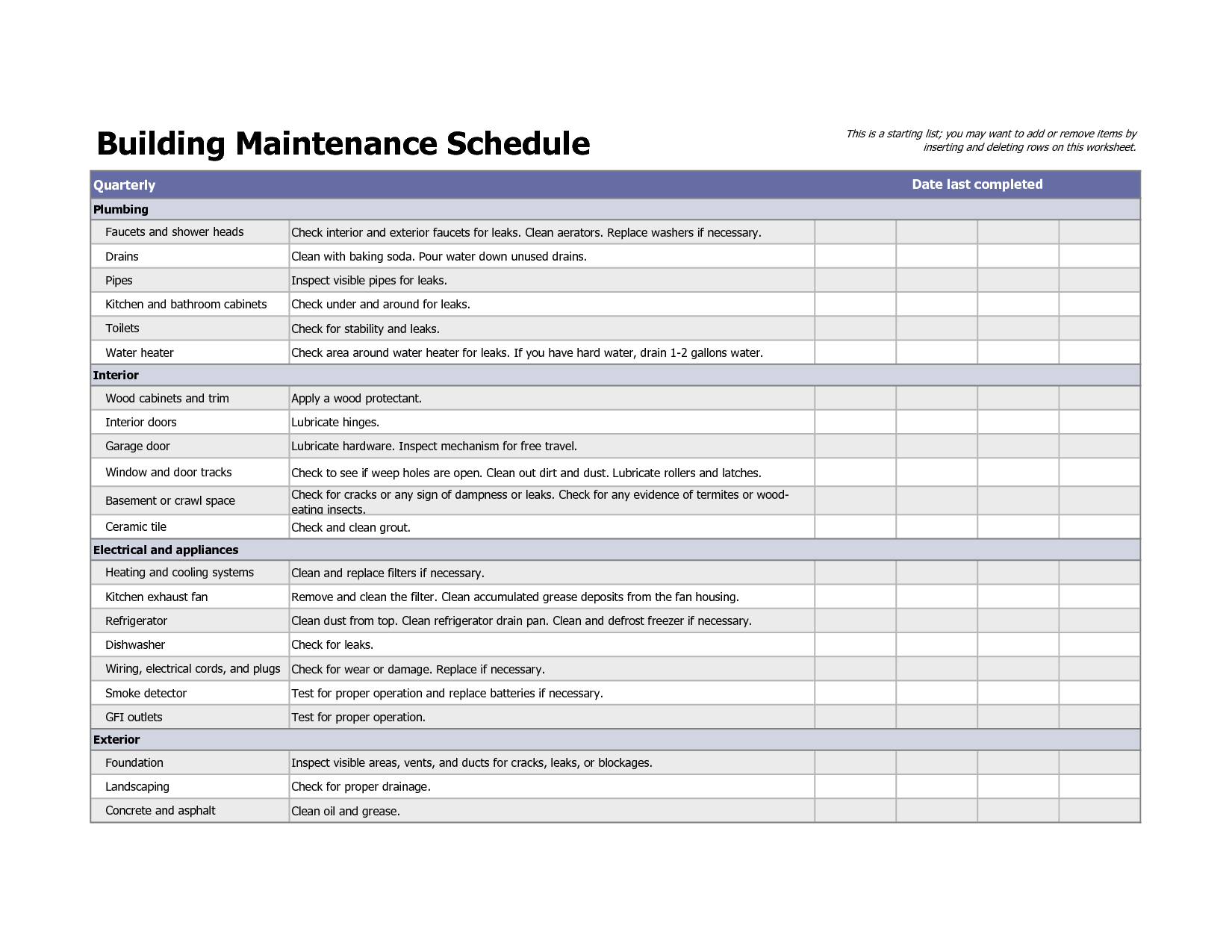 Building Preventive Maintenance Schedule Template