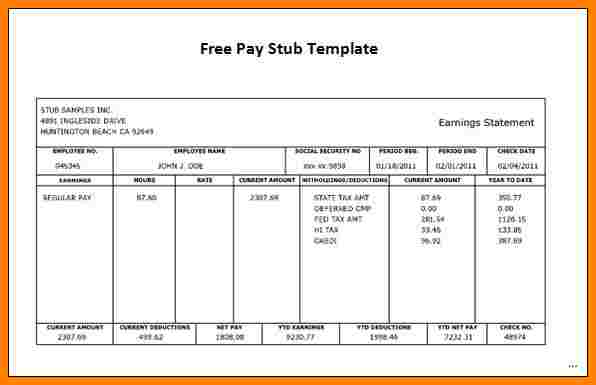 California Pay Stub Template