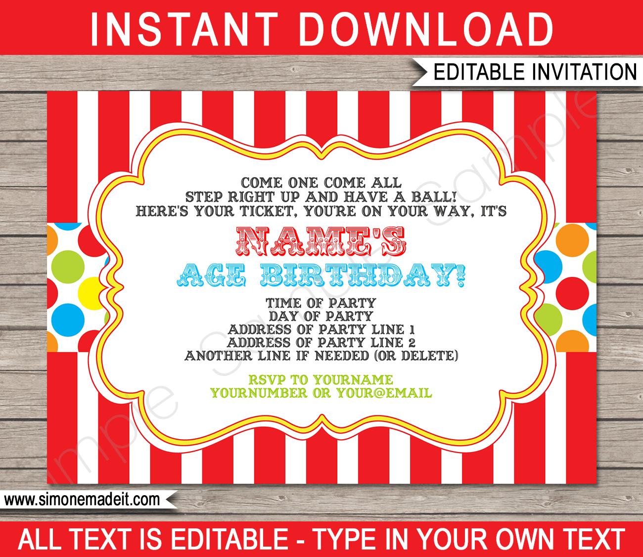 Carnival Invitation Template