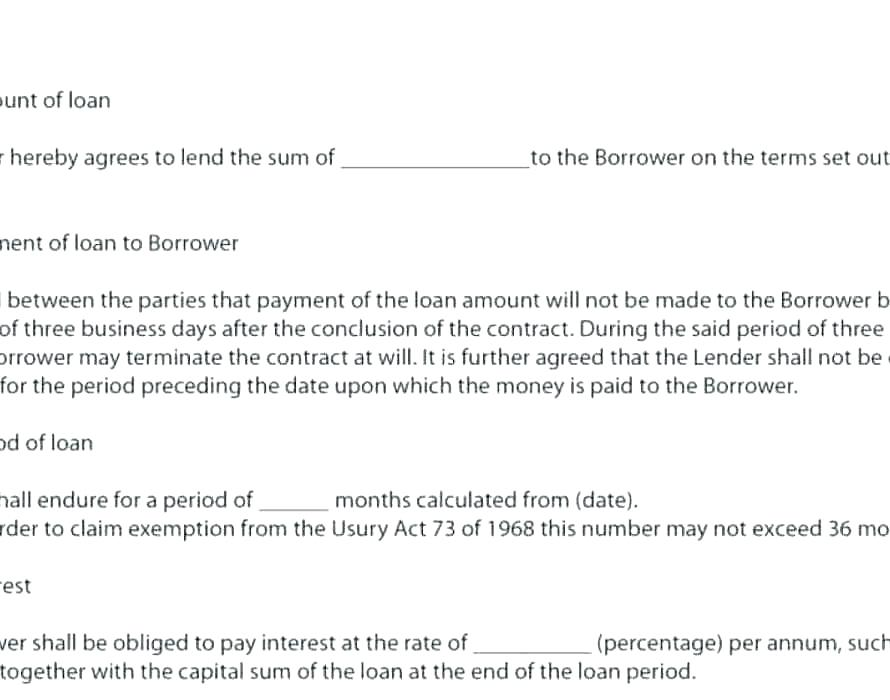Cash Loan Contract Template