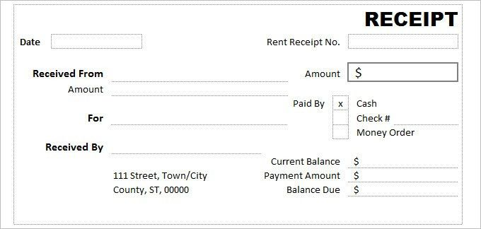 Cash Receipt Template Free Download