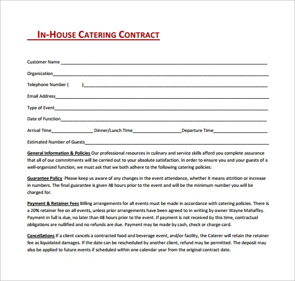 Caterer Contract Template