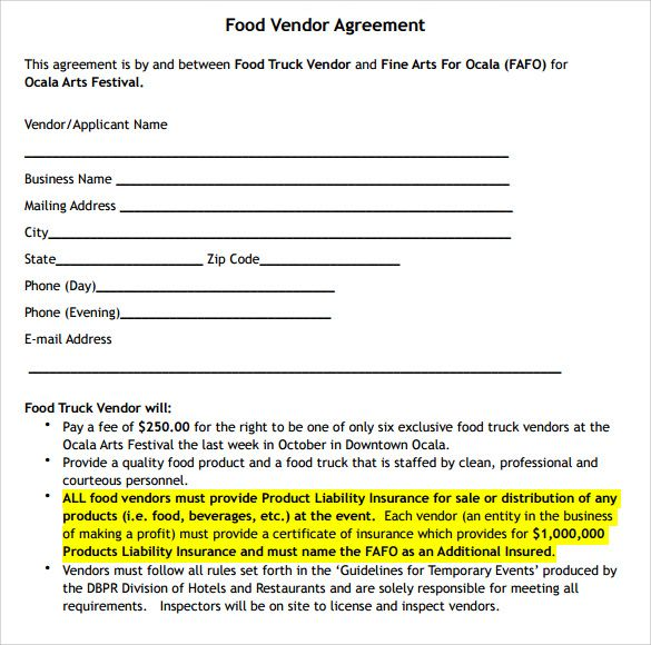 Catering Business Contract Template
