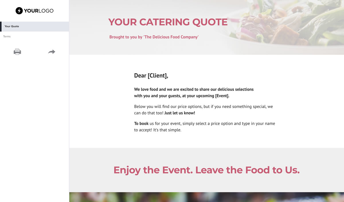 Catering Quote Template Free