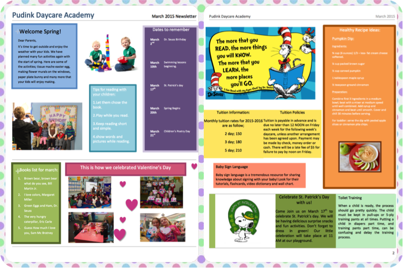 Child Care Daycare Newsletter Templates
