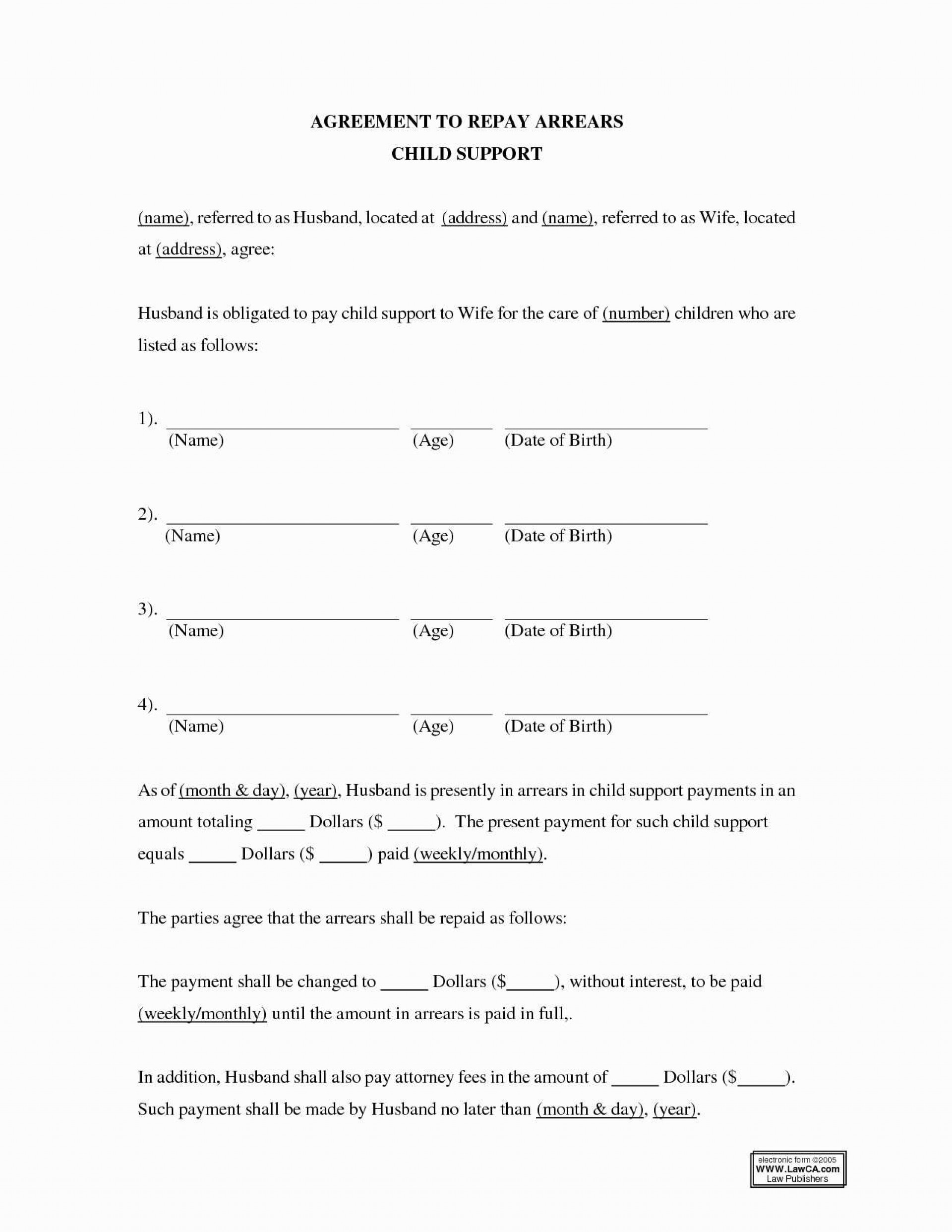 Child Support And Visitation Agreement Template