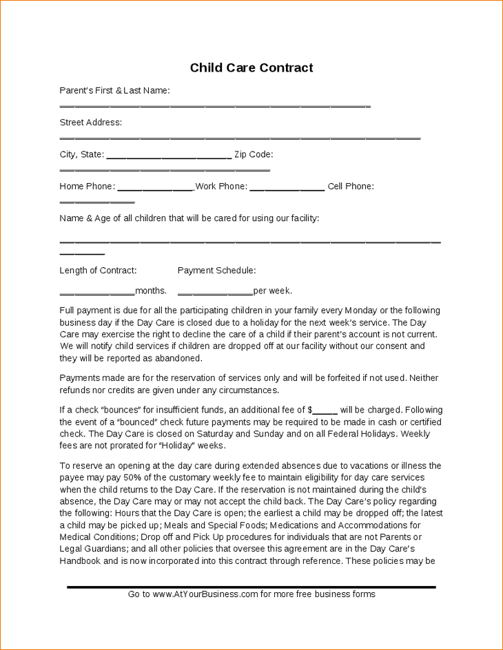Childcare Contract Template