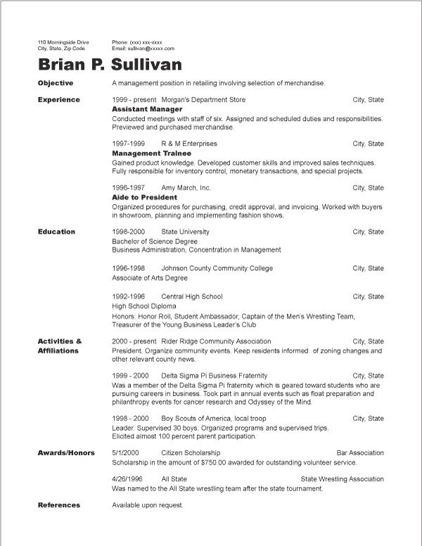 Chronological Resume Template 2019