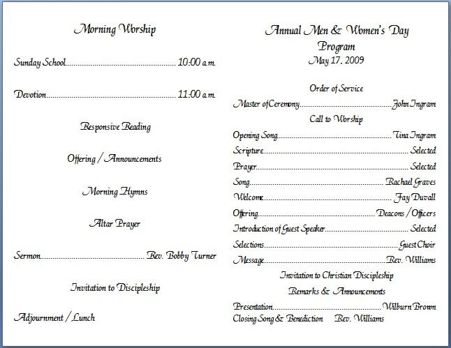 Church Bulletin Insert Template