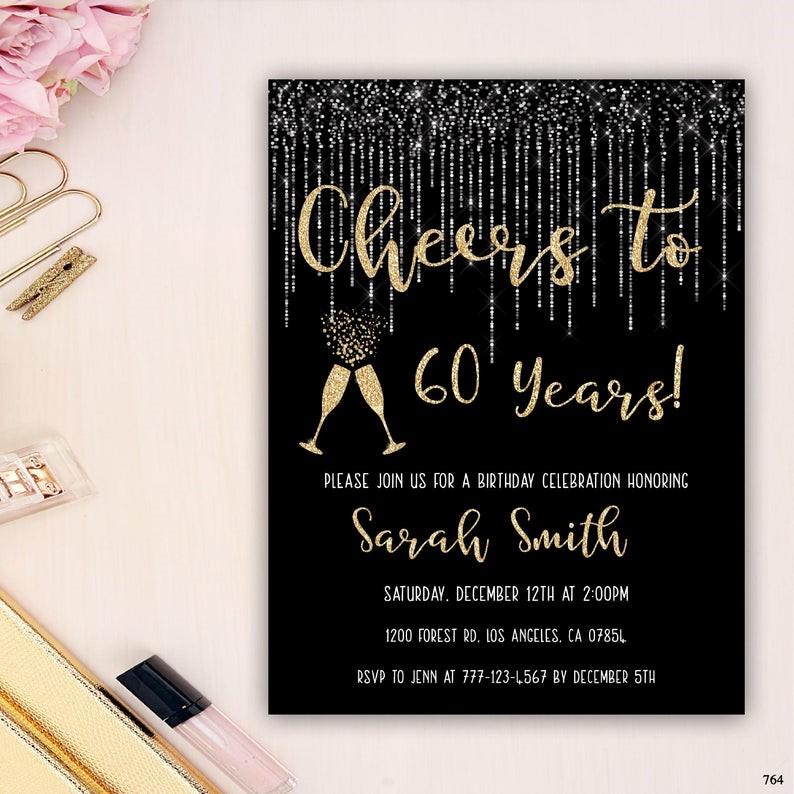 Classy 60th Birthday Invitation Templates