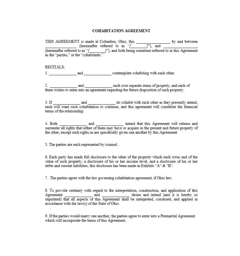 Cohabitation Agreement Template Free