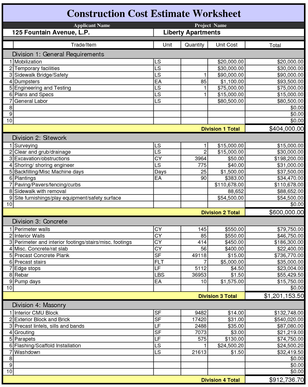 Construction Project Construction Cost Estimate Template Excel