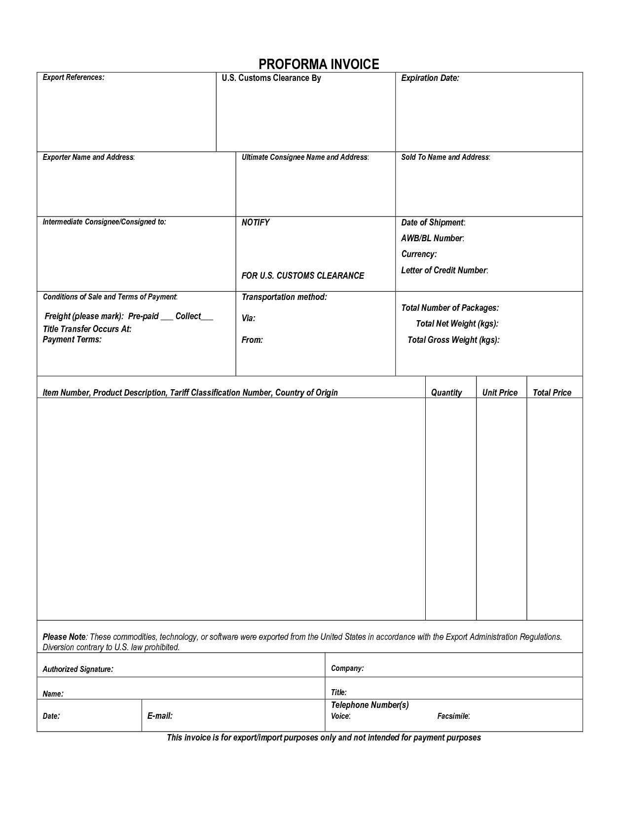 Proforma Invoice Example 135012 Proforma Invoice Customs Invoice Template Ideas