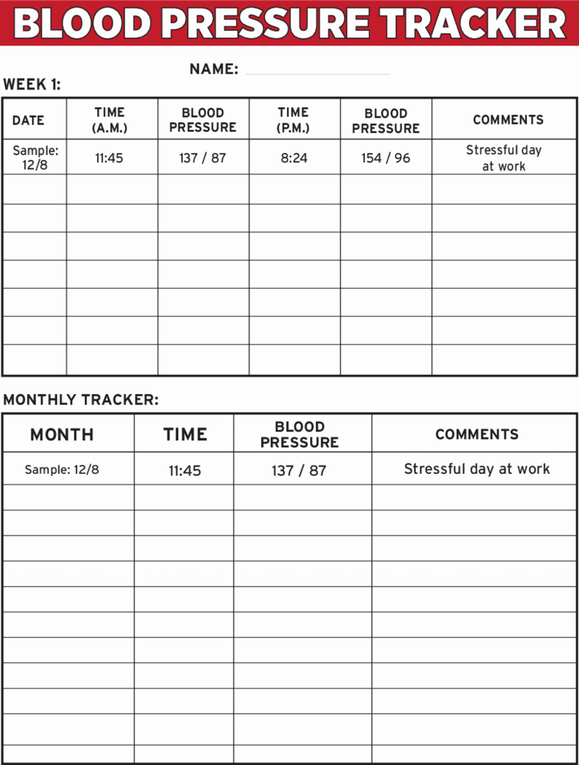 Daily Printable Blood Pressure Chart Template