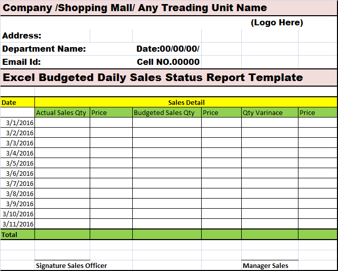 Daily Sales Report Template Excel Free