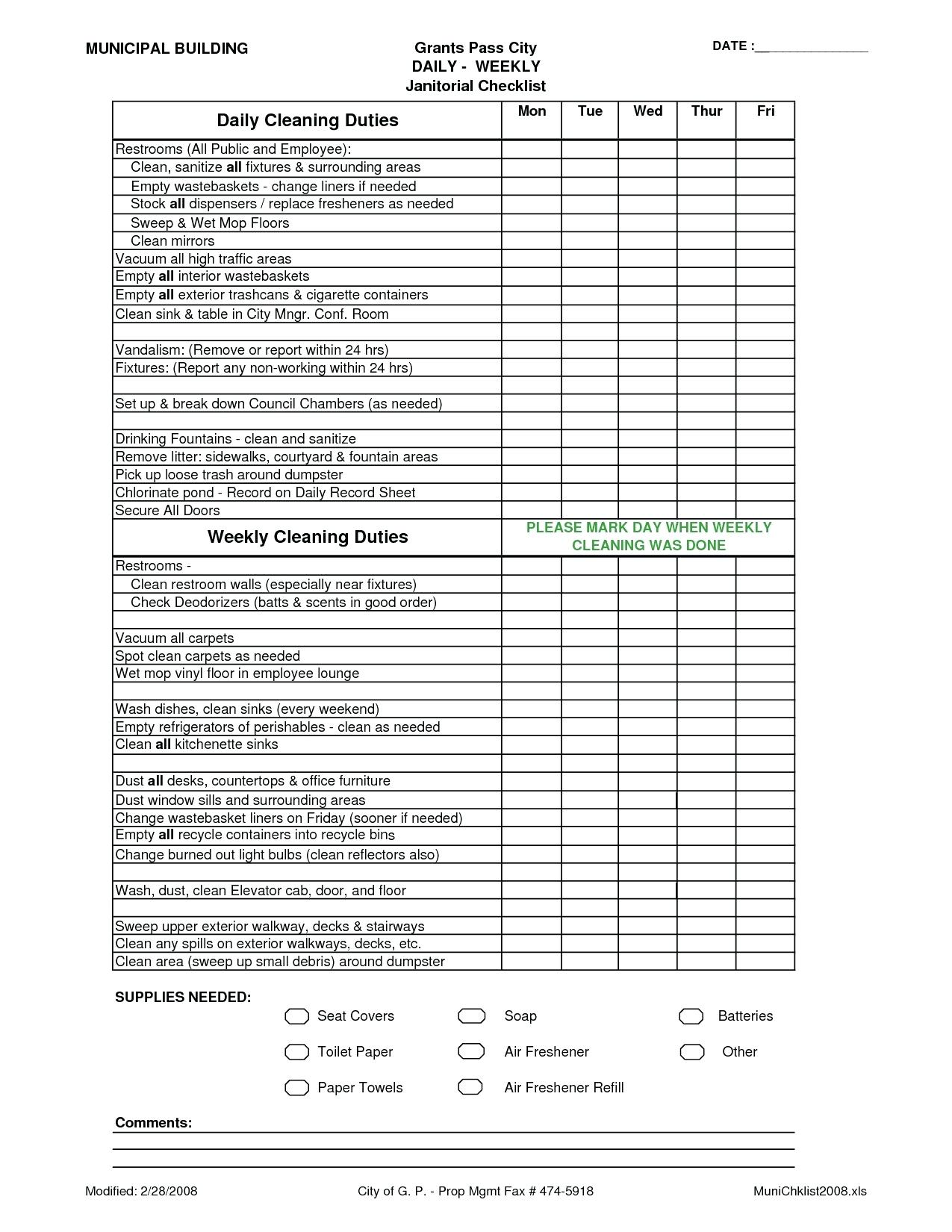 Daycare Cleaning Checklist Templates