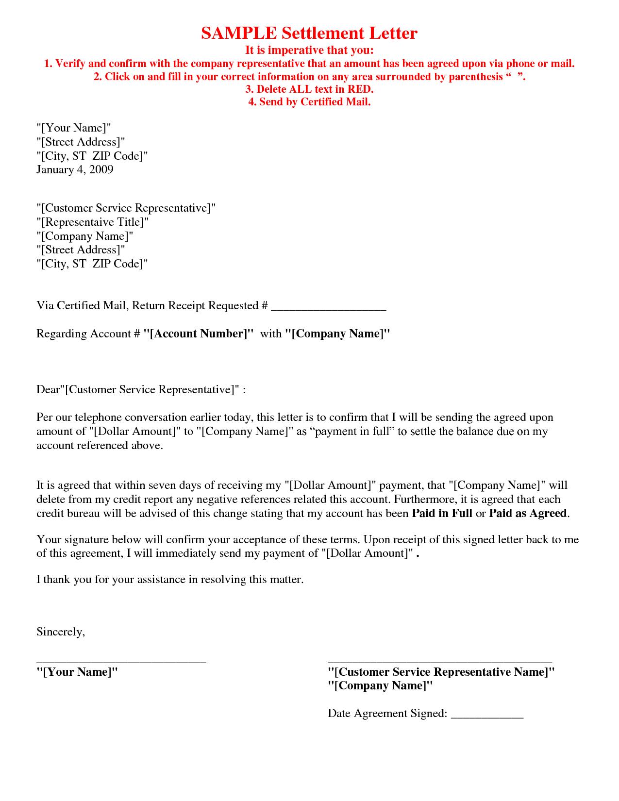 Debt Settlement Agreement Letter Template