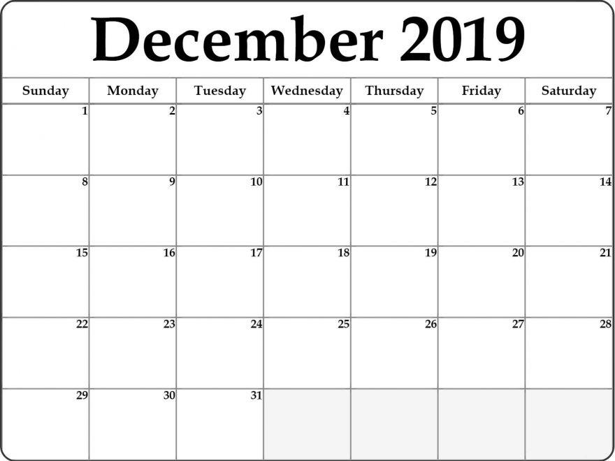 December 2019 Calendar Editable Template