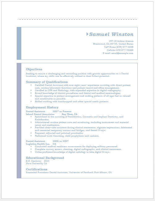 Dental Assistant Resume Template Microsoft Word