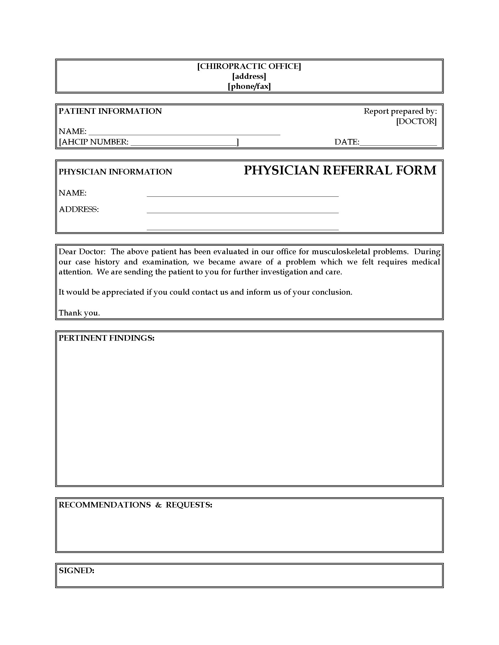 Doctor Referral Form Template Free